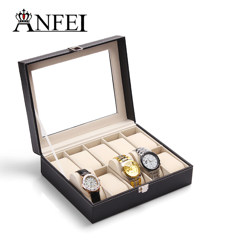 10 Grid Slots watch Case Jewelry Storage Holder Display PU leather Wrist Watch Boxes with glass cover best husband birthday gift(China (Mainland))