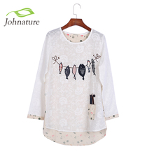 Embroidery Shirts Long Sleeve O-neck Cartoon Print Cotton Loose Japanese Mori Girl 2016 Spring Women Fish Cat Cute Top Shirt(China (Mainland))