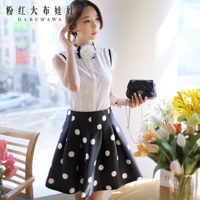 Summer shirt Pink Doll 2015 new dress lace fold sleeveless white shirt woman