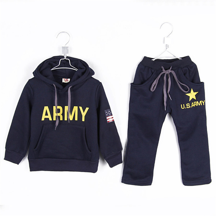 2015 autumn and winter boys clothing sets baby child casual fleece warm sports sets A0823(China (Mainland))