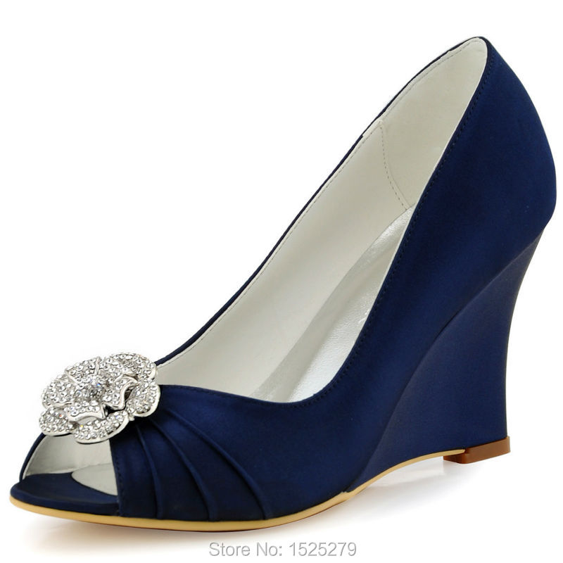 WP1549 Evening Weeding Women Shoes Navy Blue Peep Toe Pumps Wedges Heels 3.5 Clips Detachable Pearl Bridal Party shoes US4-11<br><br>Aliexpress