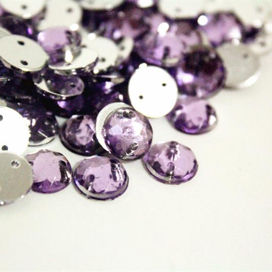350pcs Purple Acrylic Flat Back Rhinestone Beads with Hole, 8mm Sew On Round Acrylic Rhinestones, Free Shipping(China (Mainland))