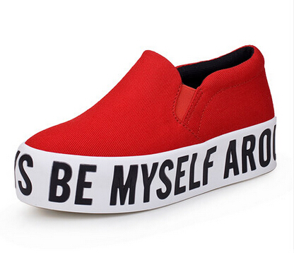 Гаджет  Shoelace pedal shoes lazy HARAJUKU platform letter shoes female 2015 Spring and autumn canvas shoes Free shipping None Обувь