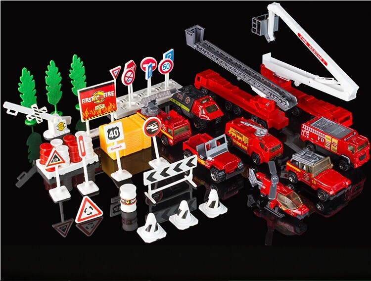Hot selling, 9models/set high quality Children diecast model toy car set fire truck toy car alloy crane car model, Free Shipping(China (Mainland))