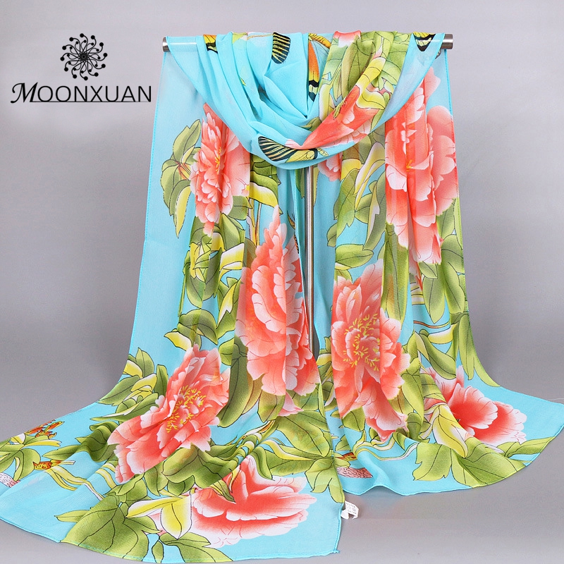 Women Chiffon Scarves 2017 New Fashion High Quality Peony Flower Design Printing Silk Scarf Dress Shawl Jewelry Wholesales Gifts(China (Mainland))