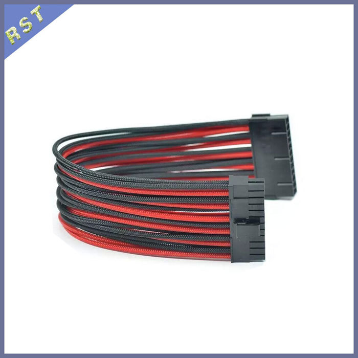 Sleeved 24Pin Extension Cable 30cm 24 Pin ATX Power Cable Multicolor Free Shipping(China (Mainland))