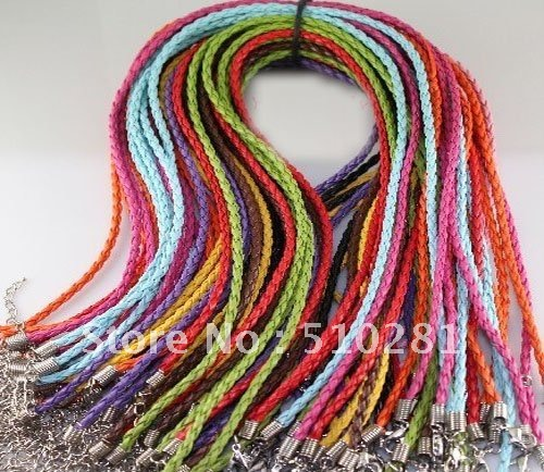 Free Ship!!!Bulk 100piece 3mm 18'' mixed color braid leather necklace cord with lobster clasp and extended chain(China (Mainland))