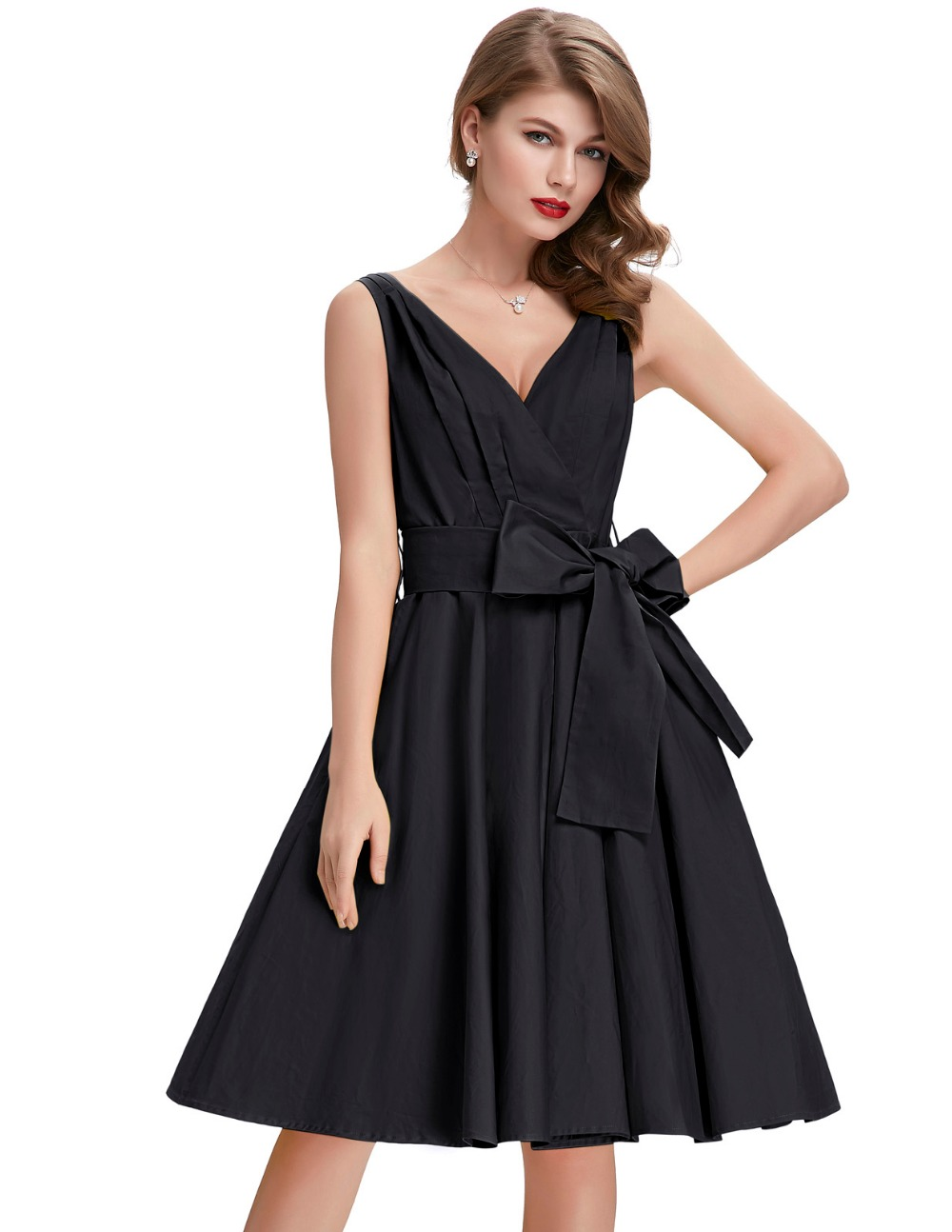 Pinup Vintage Dress Women Summer 50s Retro Dresses Sexy V-neck Sleeveless Vestidos Plus Size Casual Cotton Womens Dress ClothingОдежда и ак�е��уары<br><br><br>Aliexpress