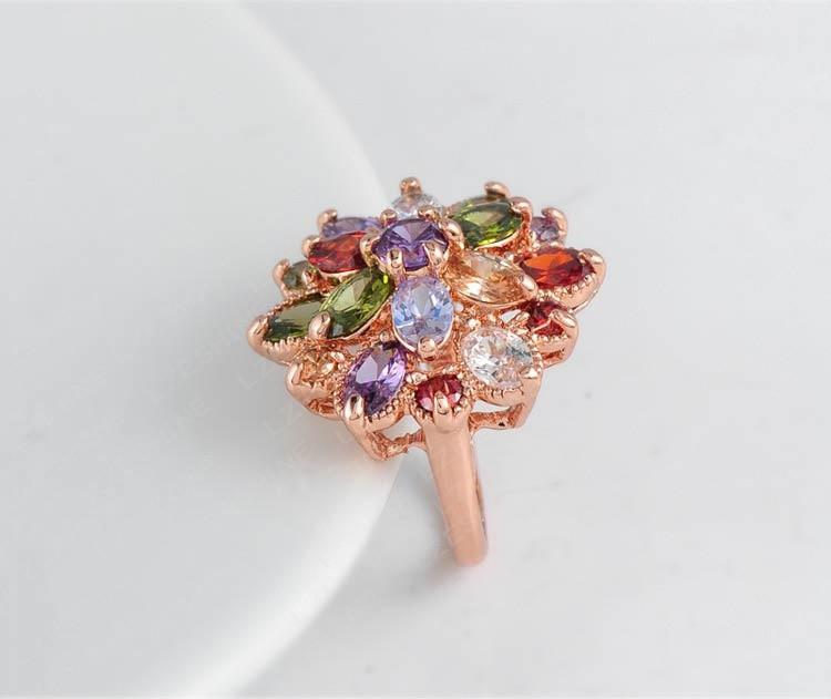 אופנה ייחודי ססגוניות טבעות אירוסין 18K עלה זהב מצופה AAA שוויצרי זירקון תכשיטי אופנה Ri-HQ0365-b