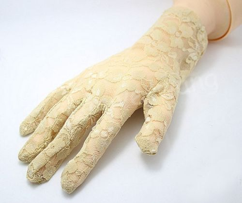lady Sexy Wrist Lace gloves stretch party dress glove BLACK WHITE(China (Mainland))