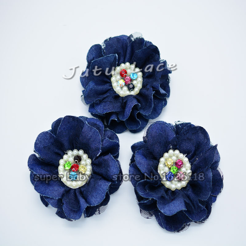 25pcs/lot Chiffon Flower with Shiny Colorful Rhinestone Hair Accessory pearl center denim fabric flowers(China (Mainland))