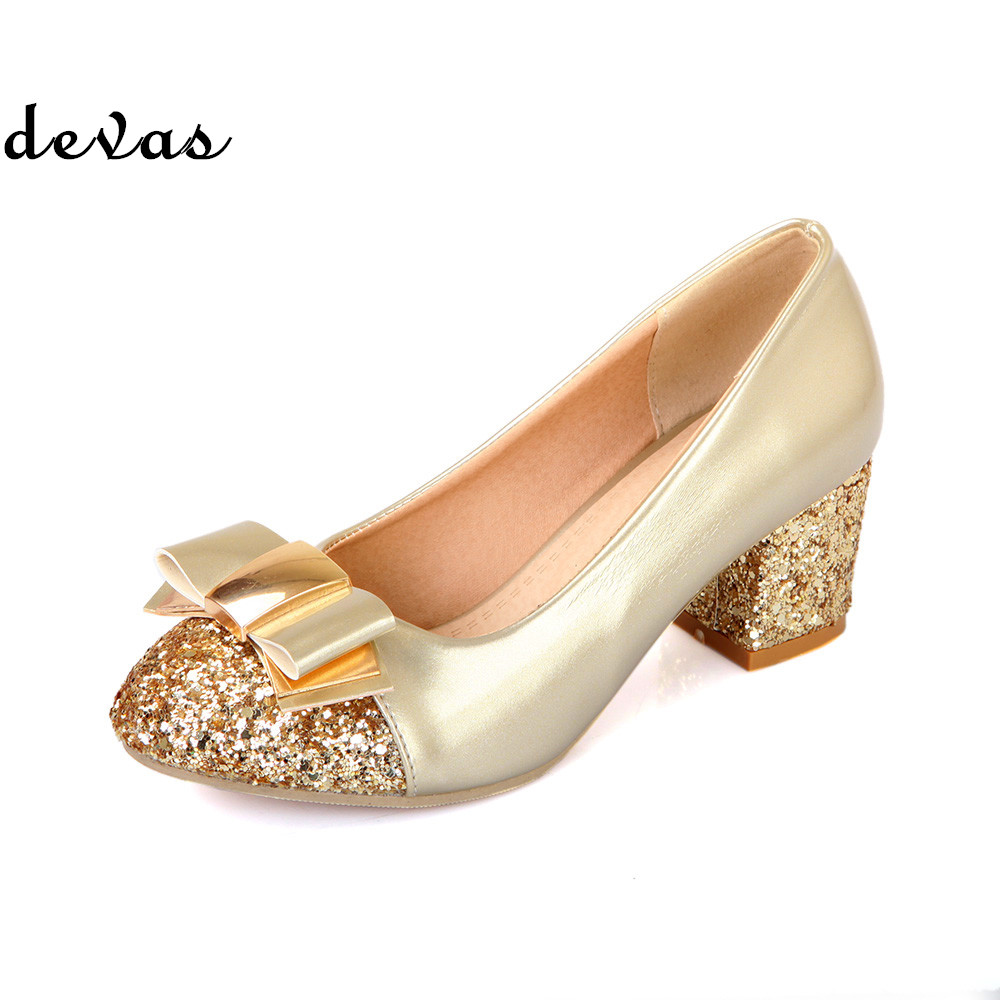 2014 women's shoes high heel pumps closed toe single shoes thick heel platform shoes gold high-heeled shoes  plus size 34-43
