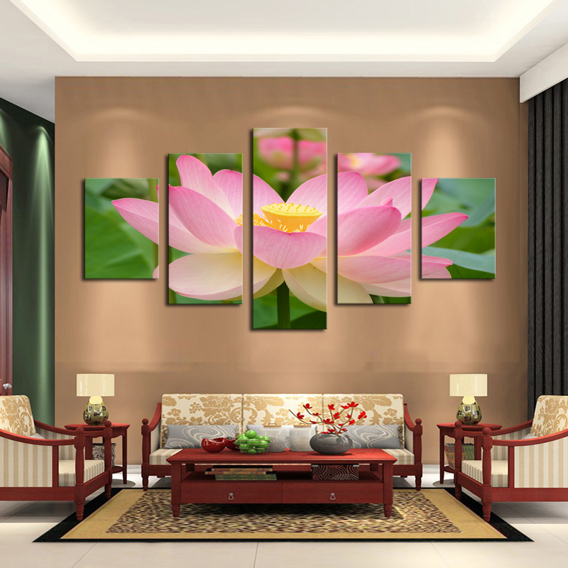 5 panel pink lotus modern painting canvas wall art picture for Art painting for home decoration