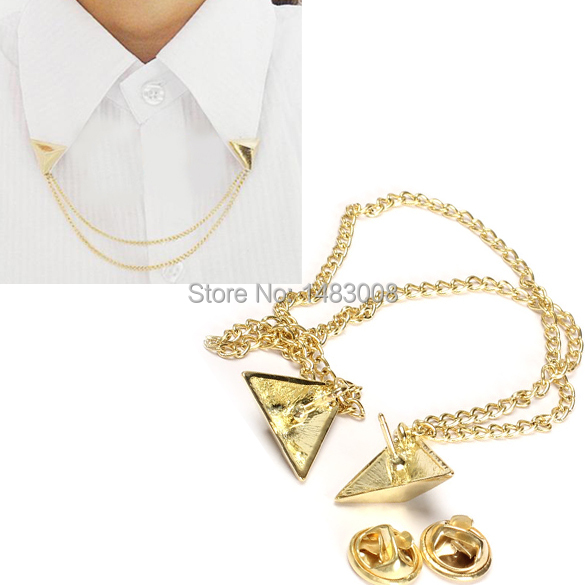 Hot Spike Stud Blouse Shirts Collar Clip Neck Tip Brooch Pin Chain Punk High Quality(China (Mainland))