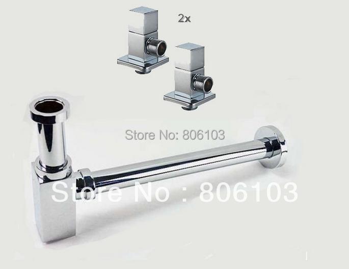 Гаджет  free  shipping Design siphon drain valve with 2 angle valve siphon drain sink Set Square None Строительство и Недвижимость