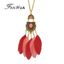 Buy FANHUA Ethnic Style Bohemian Jewelry Antique Gold-Color Chain Colorful Enamel Feather Pendant Necklace Women Accessories for $1.19 in AliExpress store
