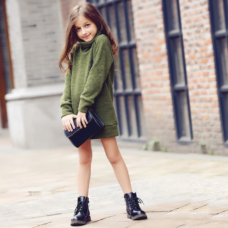 Girls Long Sweater Kids Clothes For Winter Spring Fall Turtleneck Solid Sweater Dresses Fashion Children Clothes 1242<br><br>Aliexpress