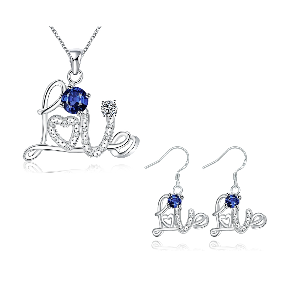 Ruby Jewelry Sets With Zircon Collier Bleu For Women Conjunto De Colar E Brinco Para Casamento Chinese Silver Jewellery SPS122(China (Mainland))