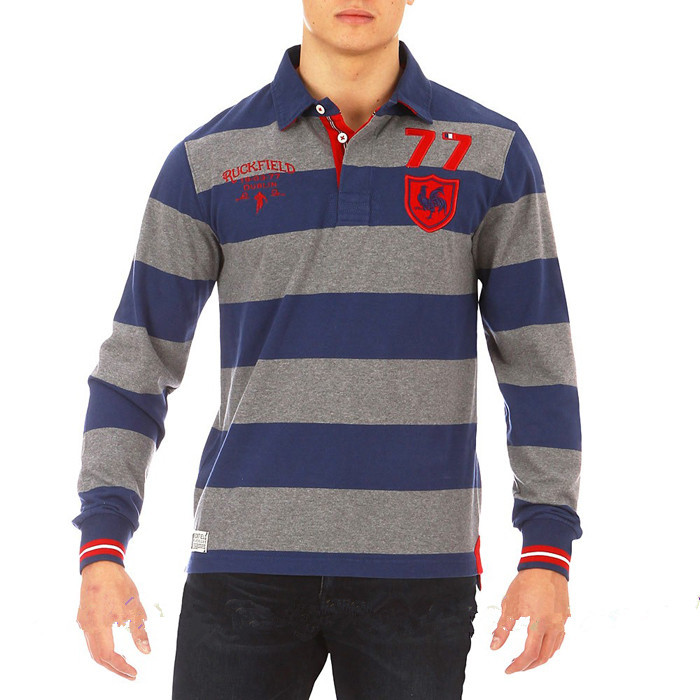 French RUCK-FIELD Rugby Jersey Men Long Sleeve Cotton Gray Rugby Shirt 77# Size 2XL(China (Mainland))