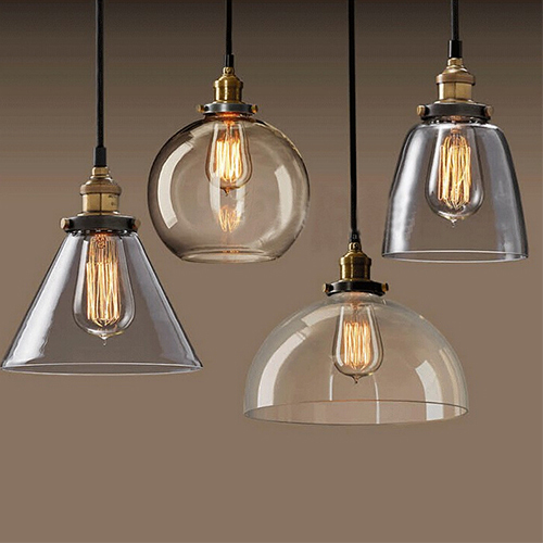 New vintage glass pendant light copper clear hanging lamp E27 110/220V lamp for home decor restaurant luminarias abajour(China (Mainland))