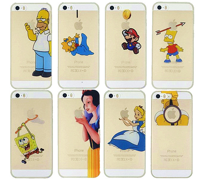Ultrathin Grind arenaceous Hard Cover Case For Iphone 5s 5 Homer Simpson Simpsons Snow White Gasp Logo Transparent cell phones(China (Mainland))
