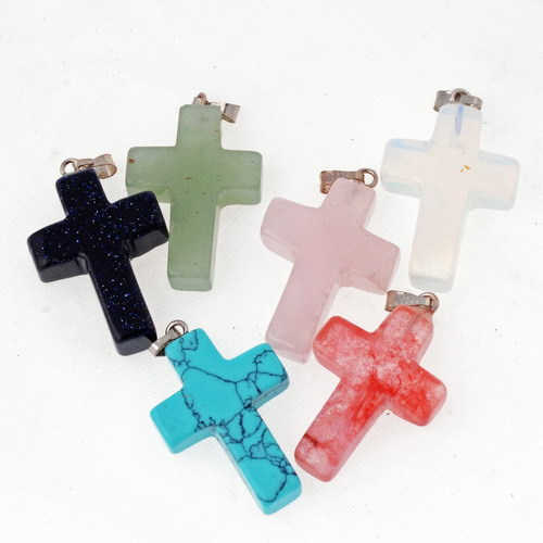 2015 High quality trendy Silver Plated necklace Natural Stone Turquoise Quartz Stone Cross Pendant Necklaces For women men(China (Mainland))