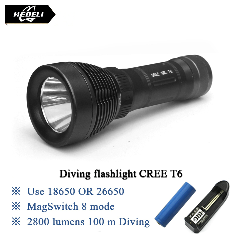 High Power Diving flashlight cree xml t6 8 mode lamp IPX8 Scuba lantern flashlight led torch 18650 or 26650 rechargeable battery(China (Mainland))