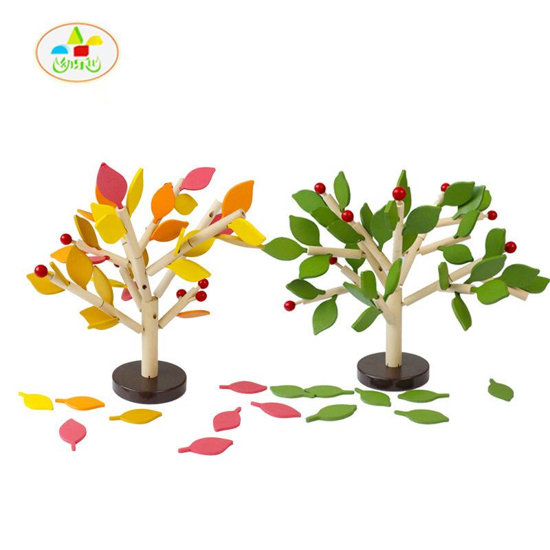 Kid's Soft Wooden Tree Flower Assembling Blocks Set Educational Toy High Quanlity Gift For Children(China (Mainland))