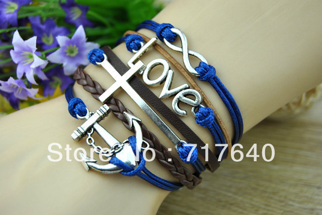 Free Shipping!6pcs/lot! Silver Alloy Leather Cord Wide Cuff Bracelet Cross LOVE Anchor 2013 Summer Trendy Customized Products(China (Mainland))