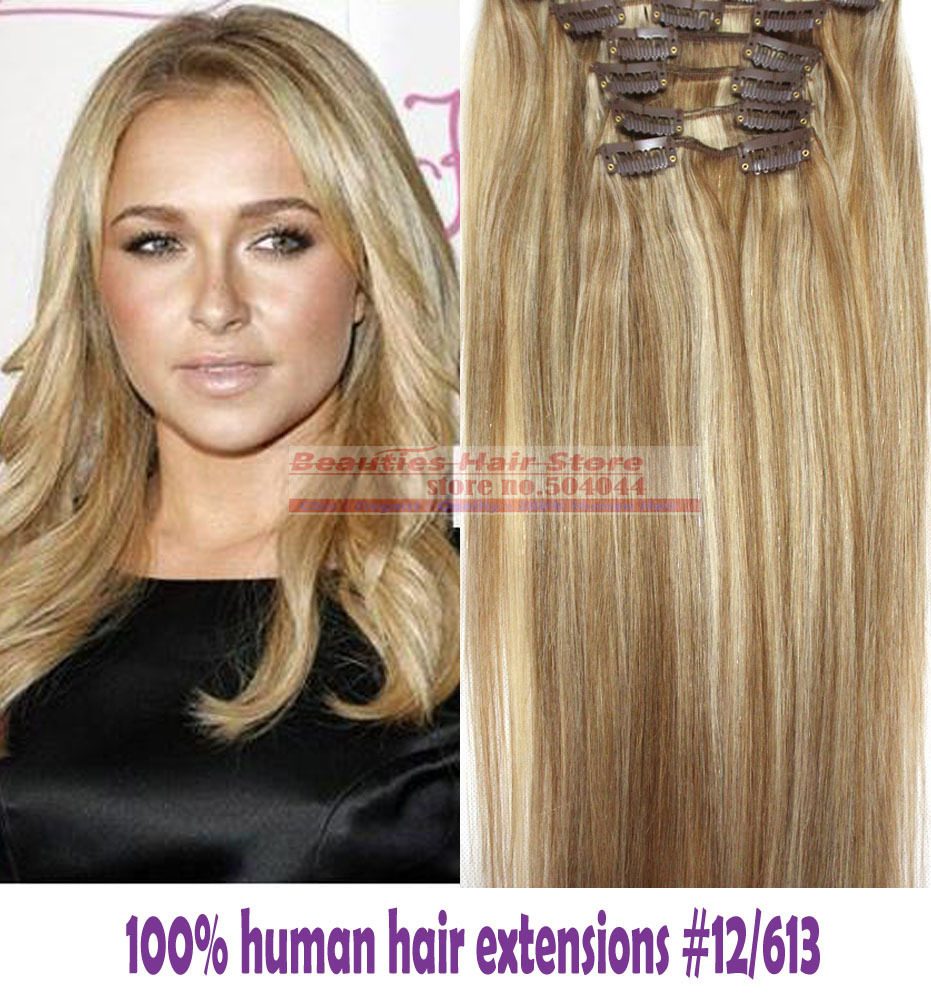 "Гаджет  free shipping 16""-32""  6pcs 100g 100% human clips in/on hair extensions #12/613 straight None Волосы и аксессуары"