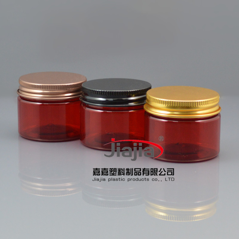 50ml Pill Container Plastic Medicine Box with bronze/black/gold aluminum Cover ,50g red PET Jar Food Grade Material PET Jar(China (Mainland))