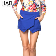 HAB Newest Skirt Shorts Women Fashion 2015 Summer Style Culottes Asymmetrical Style Tiered pantalones cortos mujer 6Colors S-XL(China (Mainland))