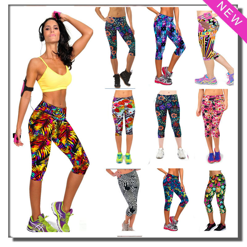 Brand New Capri Women Leggings High Waisted Floral Printing Sport Pants Lady's Finess Workout Casual Pants(China (Mainland))