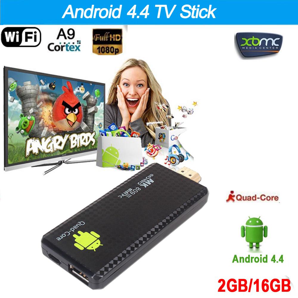 Bluetooth 4.0 Android 4.4 TV Stick Dongle Mini PC Quad Core Rockchip 2G/16G XBMC DLAN WiFi RK3188T MK809III TV Dongle(China (Mainland))
