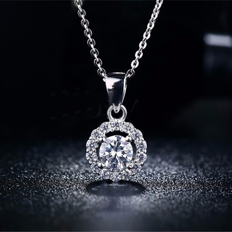 Classic Fashion Necklace Women Vintage Collier White Gold Plated AAA CZ Diamond Jewelry Pendant Accessories Collares Mujer QN001(China (Mainland))