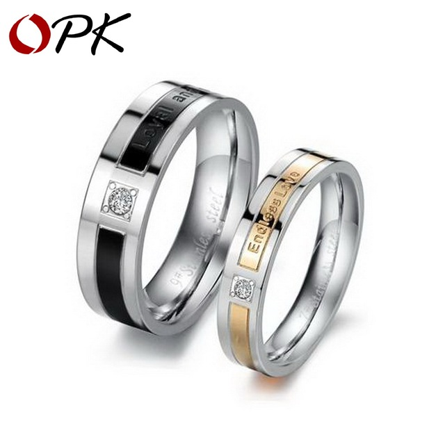 OPK JEWELRY promotion stainless steel couple finger ring fashion cool design love gift  women size 5 to 8, men size 7 to 10, 145