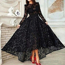 Vestido 2015 Black Long Line Elegant Prom Evening Dress Crew Neck Sleeve Lace Hi Lo Party Gown - Miss green dress store