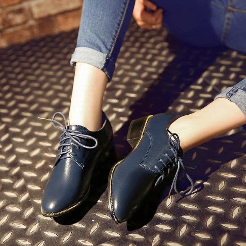 Big Size 33-43 2016 Lace-Up Women Pumps Thick Low Heels Round Toe Platform Shoes Women Spring Autumn Casual Shoes Woman Fashion