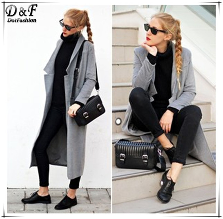 Coats Women 2015 Brand Designer Fashion Female Clothes European High Street Grey Long Sleeve Notch Lapel Pockets Coat(China (Mainland))