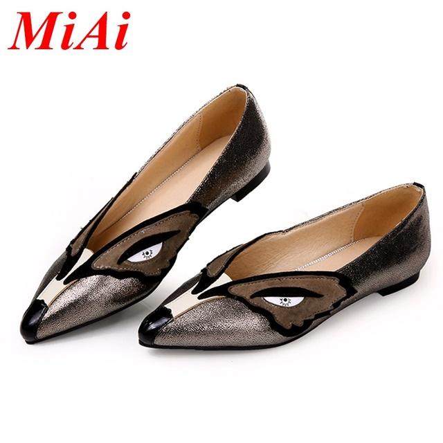 Мода натуральной кожи квартиры обувь для женщин 2016 новый сексуальный острым носом ...