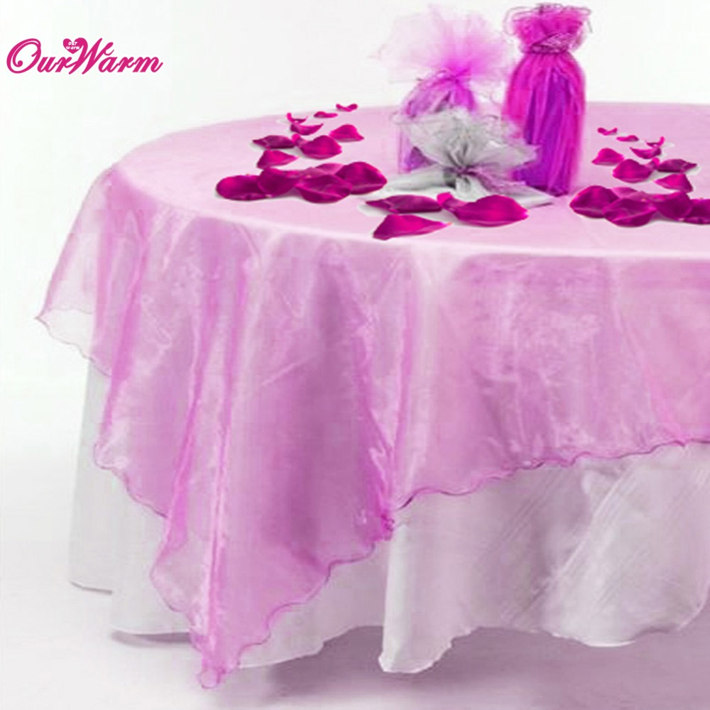 5Pcs Organza Square Table Cover Tablecloth Overlay 72 inch for Wedding Party Decoration Product Supply Many Color(China (Mainland))