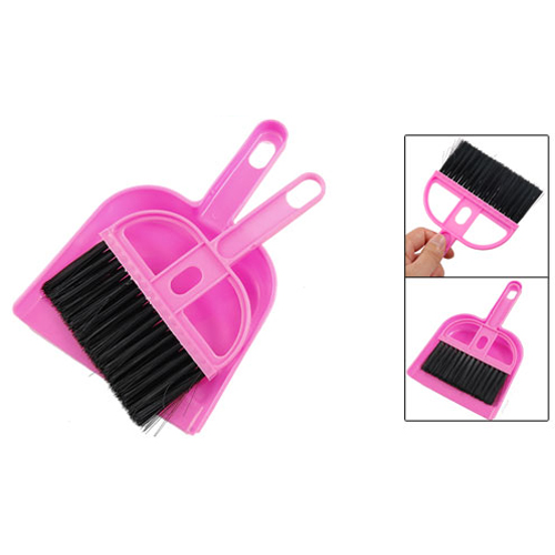 SZS Hot TOP! Amico Office Home Car Cleaning Mini Whisk Broom Dustpan Set Pink Black(China (Mainland))