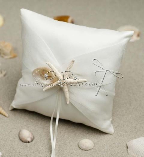 Livraison gratuite ivoire Starfish anneau de mariage oreiller plage ...