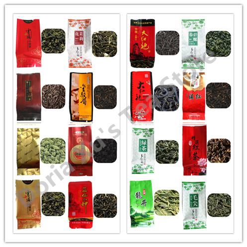16 flavors oolong black tea,dahongpao tie guan yin puer sencha jasmine white green bi luo chun long jing dian hong tea(China (Mainland))