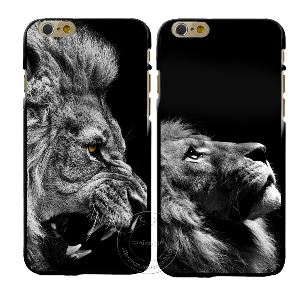 New Fashion Lion Design Cover Case For Apple iPhone 4 4S 5 5S SE 5C 6 6S Plus 6SPlus Hard Plastic Phone Cover Coque Shell(China (Mainland))