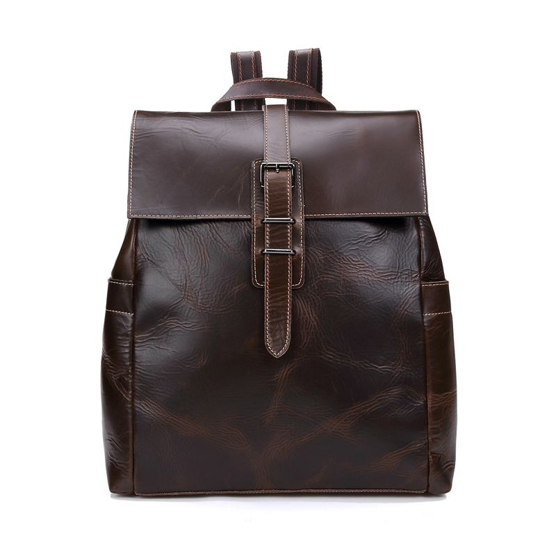 2015 New Fashion Men Leather Backpacks High Quality Vintage Mens Laptop Backpack Male Crazy Horse Leather Bag Mochila Masculina<br><br>Aliexpress