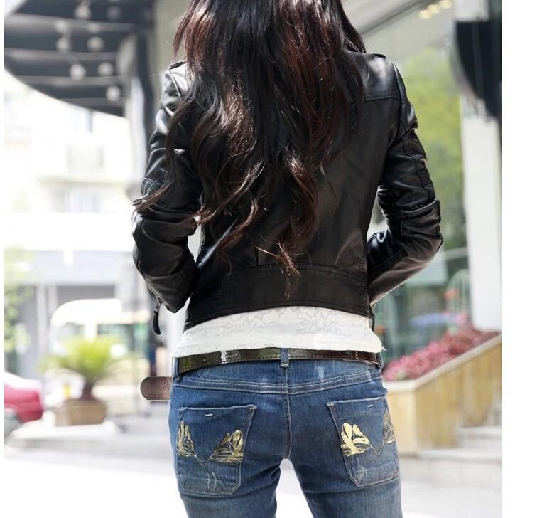 Осень женщины куртка полиуретан марка черный кожа куртка европейский стиль косой молния мотоцикл полиуретан куртка