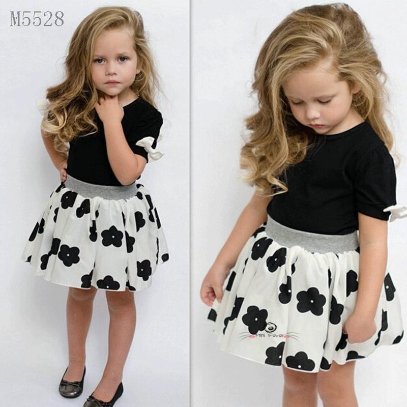 Summer Fashion Kids Girls Clothes Sets 2pcs Black Top+Flowers Dress Baby Princess Girls Clothing Sets(China (Mainland))