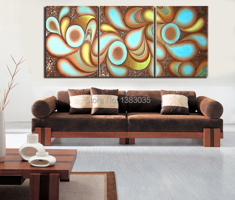 Hand painted modern canvas painting oil picture 3 piece for Contemporary wall art for living room