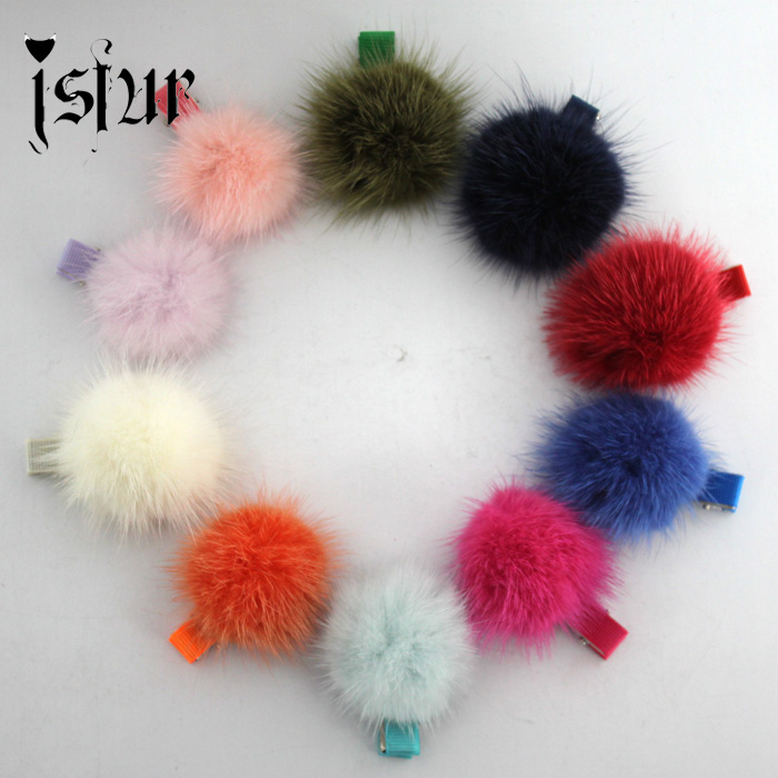 10pcs/lot Cute Real Mink Fur Pom Pom Hair Pin Hair Accessories Handmade for Girls Women Fur Ball Hair Barrette Clip(China (Mainland))